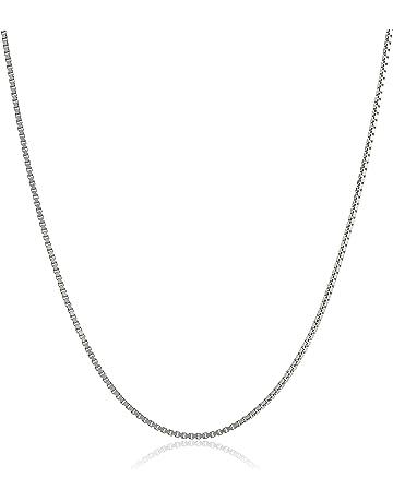 f3d583fd2 Sterling Silver Italian Diamond Cut Box Chain Necklace