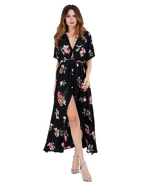 c0c04f27103f Women's Sexy Deep V Neck Floral Print Split Maxi Dresses Long Casual Beach  Dress (red Flower Black, XL) at Amazon Women's Clothing store: