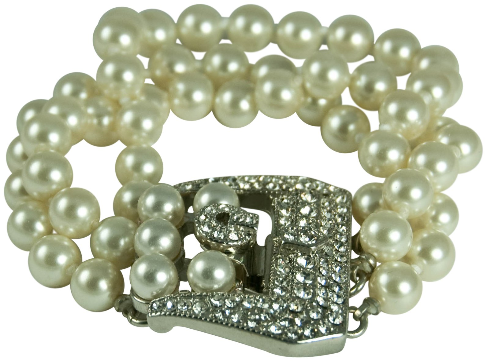 KENNETH JAY LANE-3 STRAND GLASS PEARL BRACELET WITH PAVE CRYSTAL BUCKLE CLOSURE by Kenneth Jay Lane