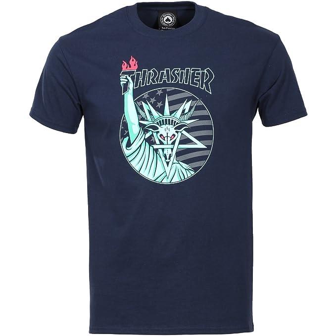 d2ad160ce44 Thrasher Magazine Liberty Goat T-Shirt Navy: Amazon.co.uk: Clothing