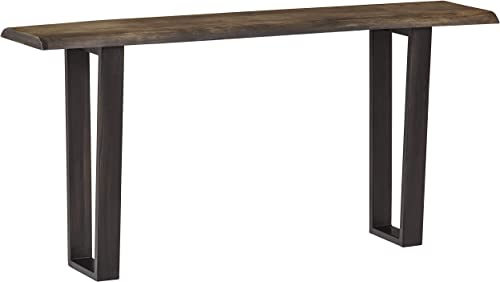 Stone Beam Garrett Rustic Acacia-Wood Sofa Table with Iron Legs, 60 W, Gray and Raw Metal