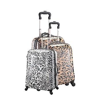 Juego de 3 maletas Carrito de la compra 4 ruedas, diseño de estampado de leopardo Marrón marrón talla única: Amazon.es: Equipaje
