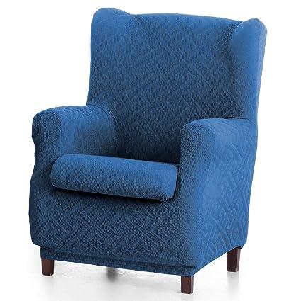 Innovaciones Roser Funda de Sillón Orejero Elástica Modelo Rosario, Color Azul, Medida 70-90cm de Ancho