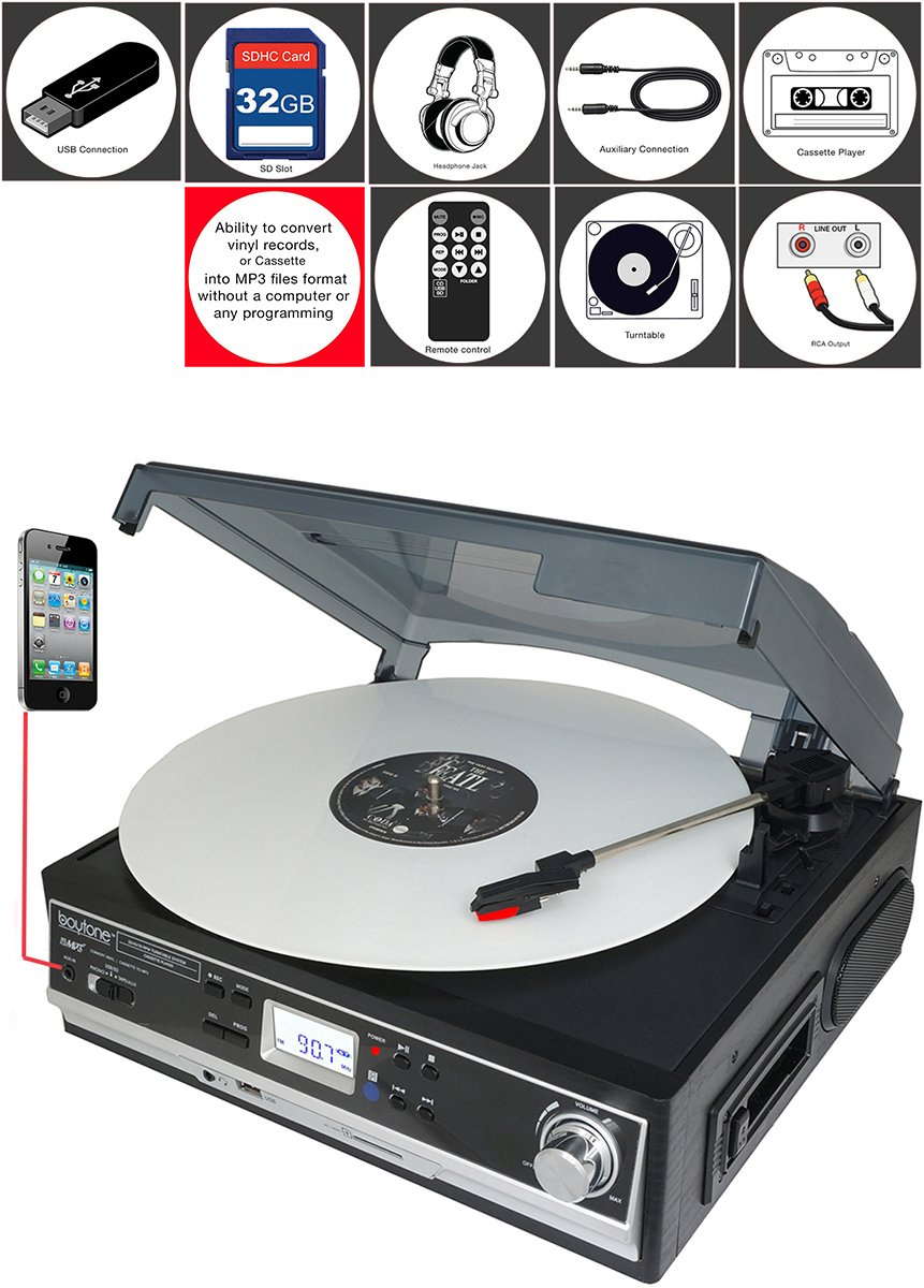Boytone BT-16DJB-C 3-speed Stereo Turntable with 2 Built in Speakers Digital LCD Display + Supports USB/SD/AUX+ Cassette/MP3 & WMA Playback /Recorder & Headphone Jack + Remote Control