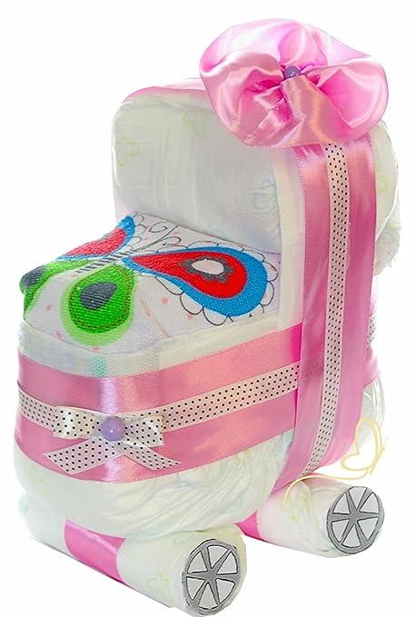 Pañales para tartas cochecito rosa para niña – Babero – Regalo para de felicitación de nacimiento