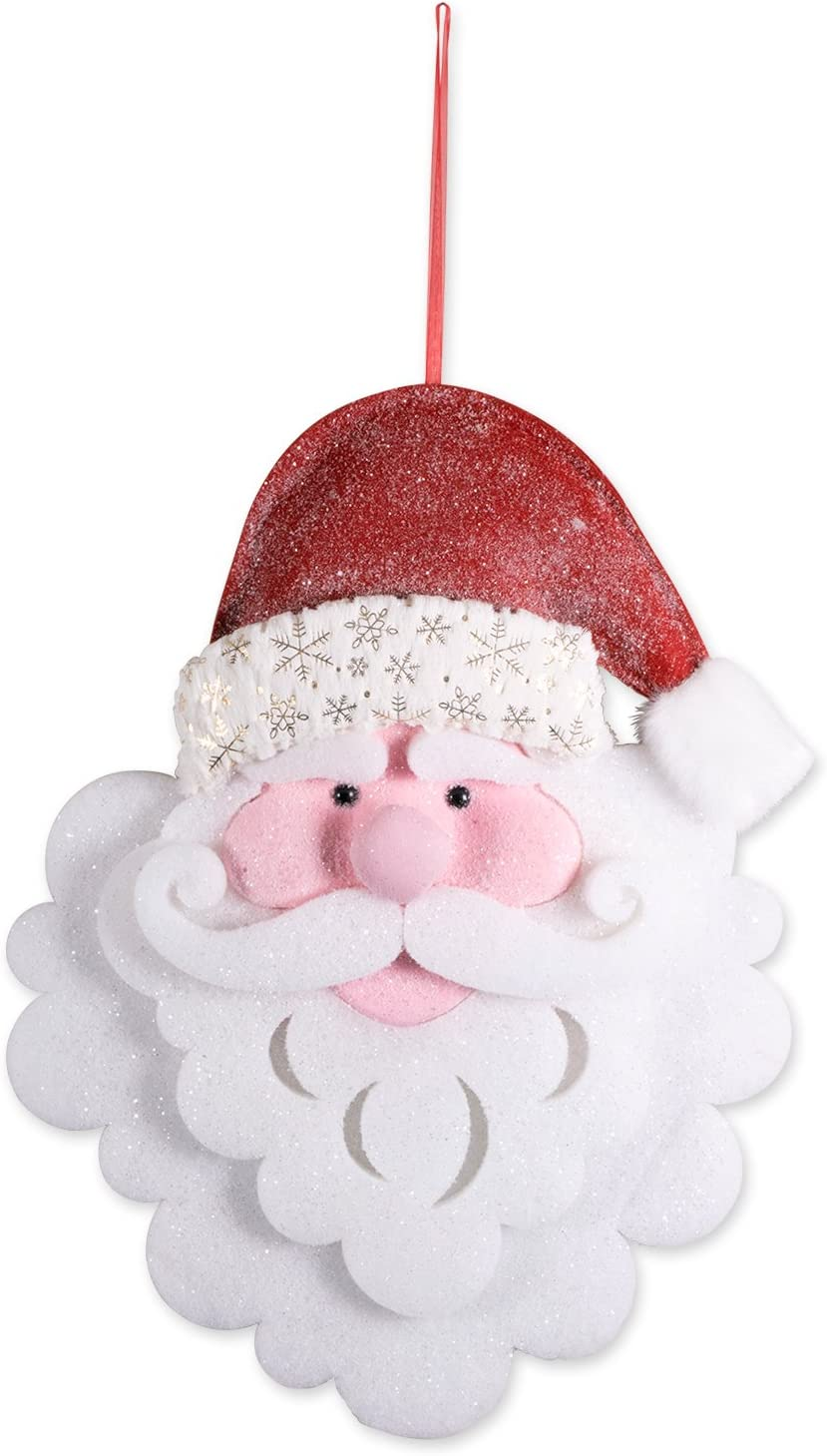 """DII Large Hanging Santa with Red Hat, Glittering From Hat to Beard for Holiday Door & Wall Decoration, Enhance Your Décor for Home, School, Office, or Party (17L x 27.5""""H)"""
