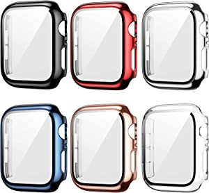6 Pack Case for Apple Watch 40mm Series 6/5/4/SE with Tempered Glass Screen Protector, Haojavo Plated Hard PC Ultra-Thin Scratch Resistant Bumper Protective Cover for iWatch Accessories