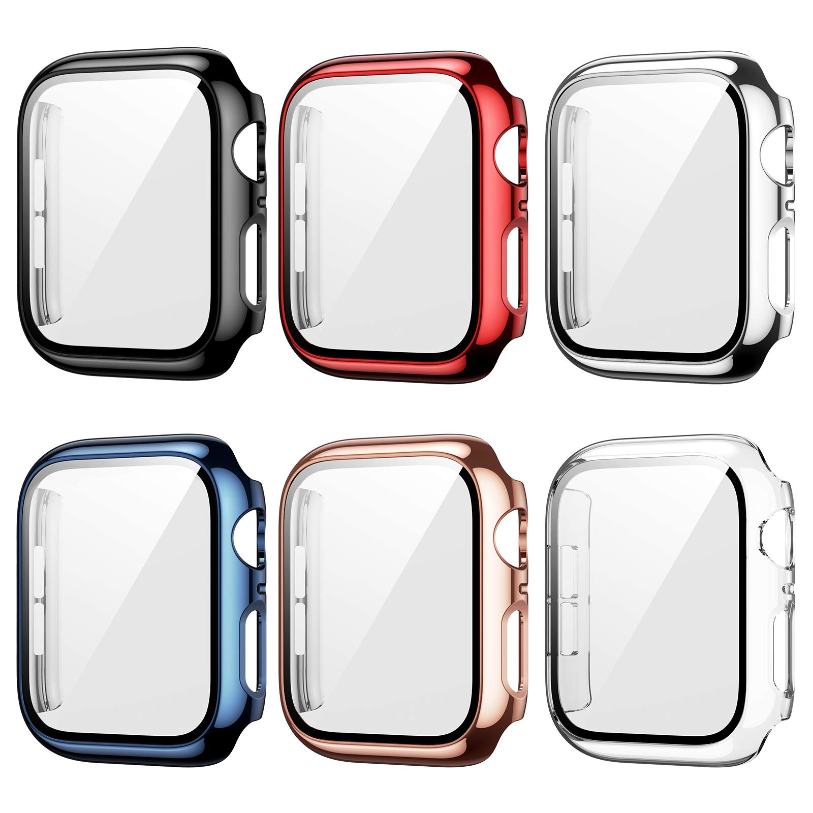 6 Pack Case for Apple Watch 44mm Series 6/5/4/SE with Tempered Glass