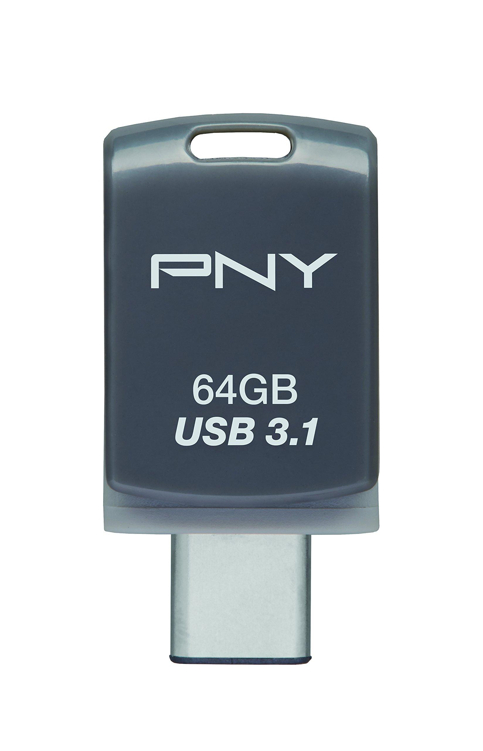 PNY 64GB DUO-LINK Type-C & Type-A Dual OTG USB 3.1 Flash Drive (P-FDU64GOTGCSW31-GE)