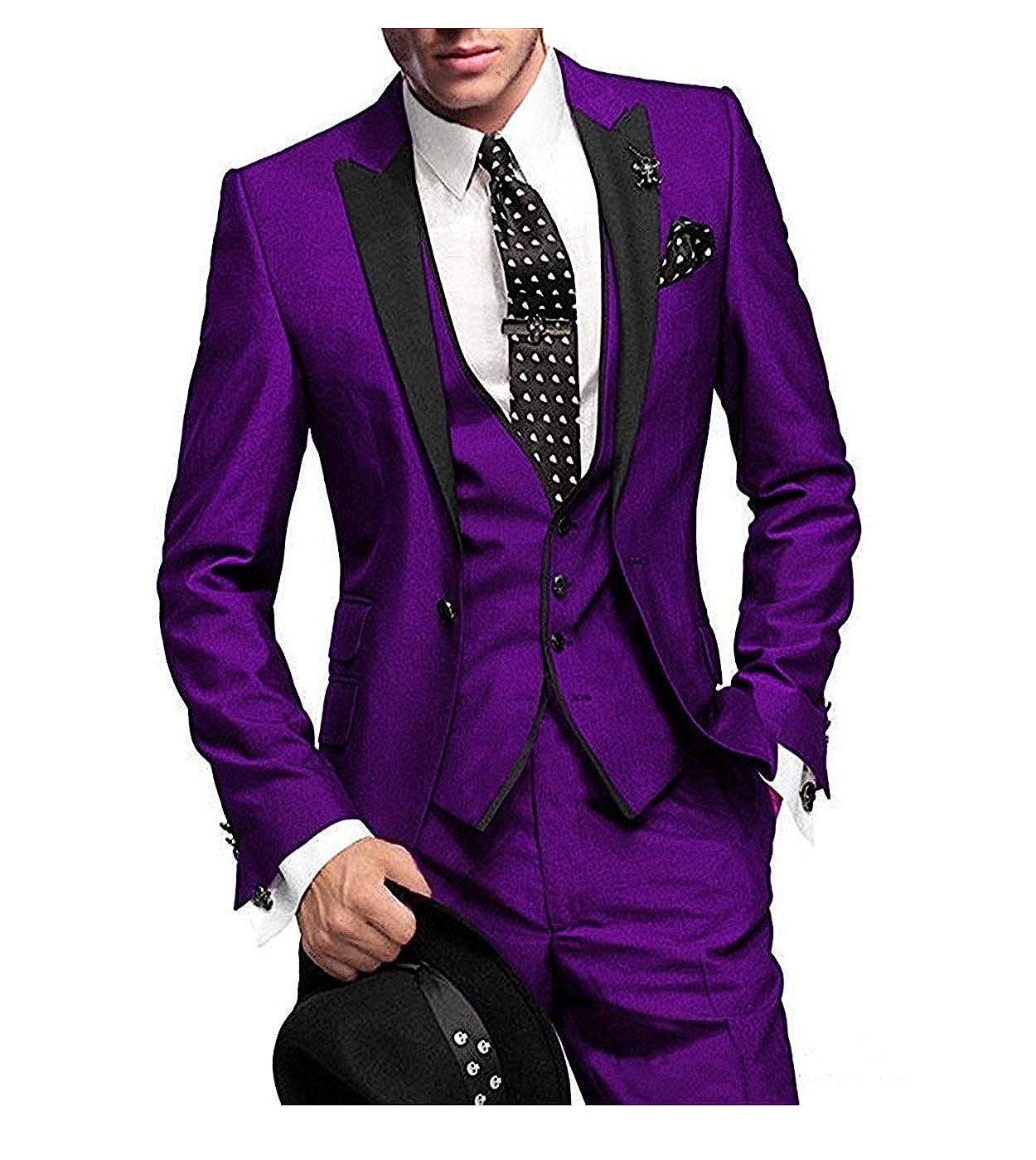 Blazer+Pants+Vest+Tie Mens Slim Fit One Button Groom Best Man Peak Groomsmen Men Wedding Suits