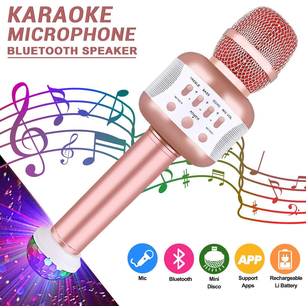 ディスコライト付きマイク、カラオケマイクブルートゥースワイヤレス歌手用PC、Iphone、Ipad、Androidパーティーキッズ(ローズ) B078YNG9D4