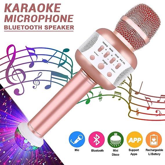 Bluetooth Karaoke Mikrofon mit Disco-Lichtern, Mikrofon Kabellos für die Aufnahme von Gesang und Sprache als Lautsprecher für