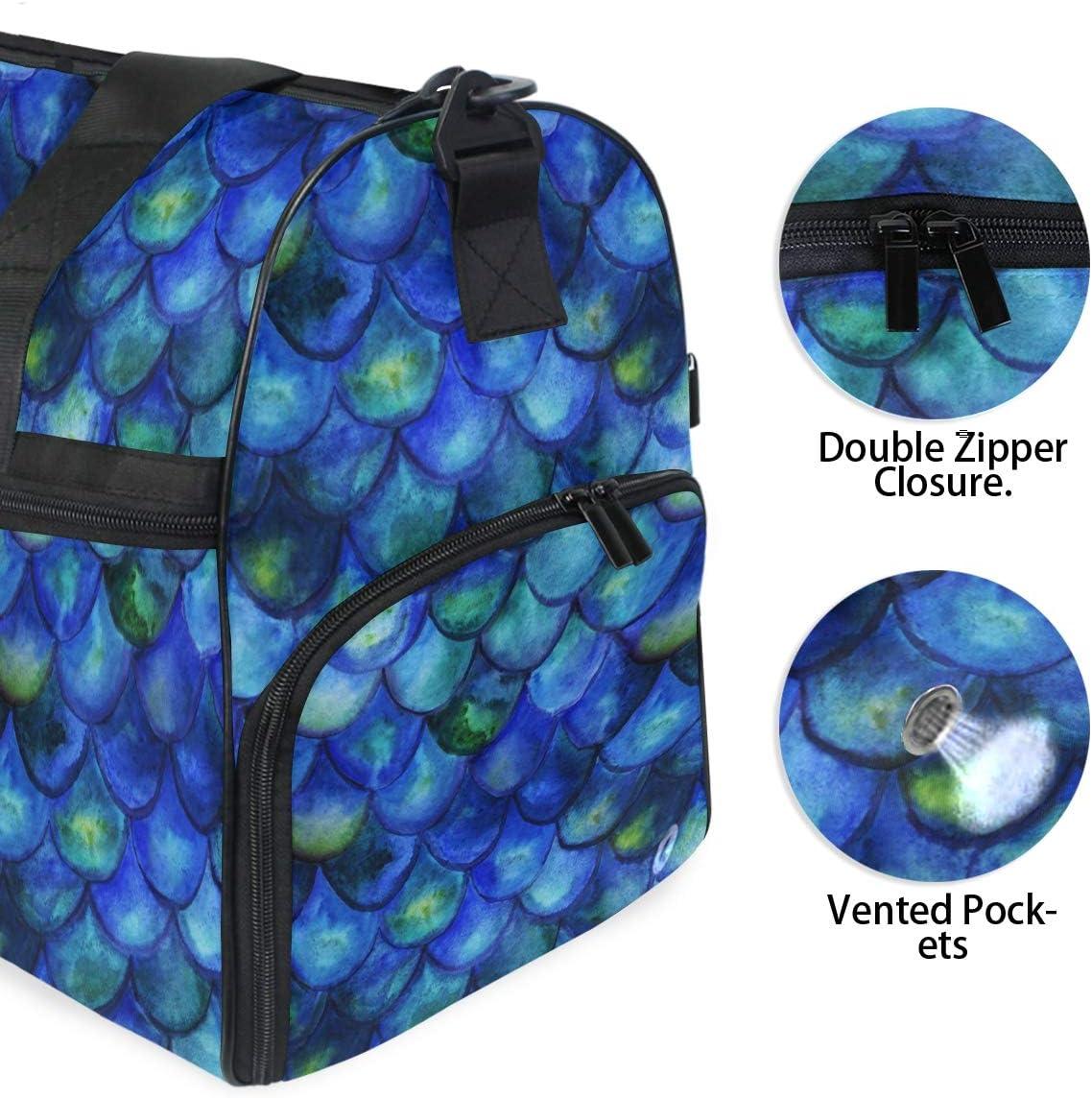 ALAZA Vintage Blue Mermaid Tale Sports Gym Duffel Bag Travel Luggage Handbag Shoulder Bag with Shoes Compartment for Men Women
