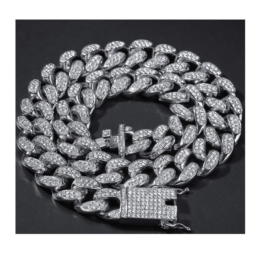 Moca Jewelry Hip Hop Iced Out Miami Cuban Chain 18K White Gold Plated Chain 20mm Width Necklace for Men Women