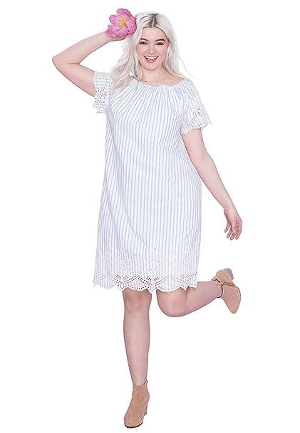 Ellos Women\'s Plus Size Scalloped Eyelet Hem Dress at Amazon Women\'s ...
