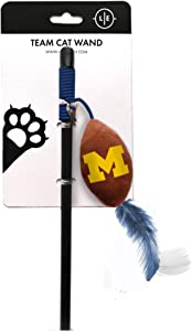 Littlearth NCAA Michigan Wolverines Cat Wand | Cat Toy | Interactive Cat Toy | Cat Teaser, Black, Wand: 18.25