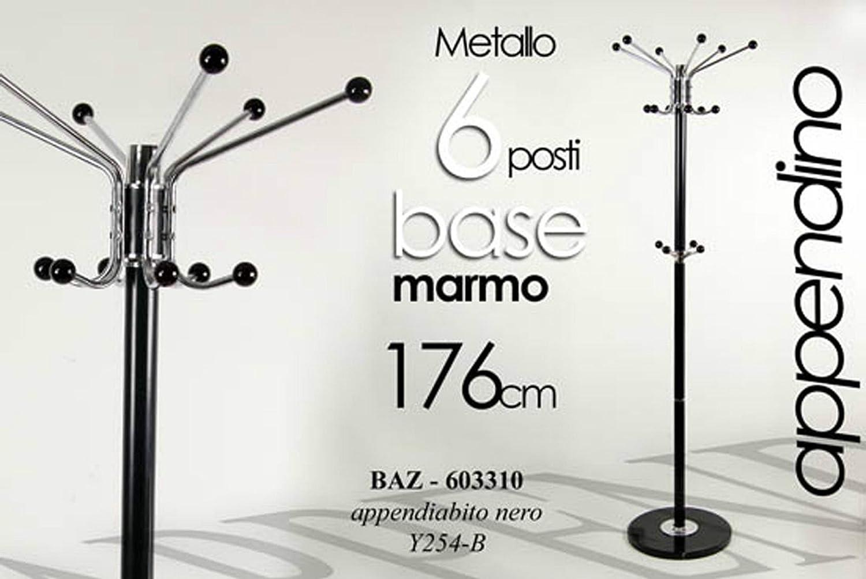 Idea casa: attaccapanni appendiabiti a piantana in metallo nero h 180 con base marmo