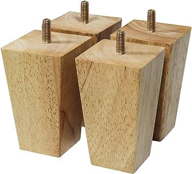 4 Patas Muebles Pies de Madera Maciza de Haya 10 cm Alta Piernas para Renovar o Elevar Muebles Sof/ás Sillones Butacas Armarios Somieres con Accesorios De Montaje Instalada Patas de Madera