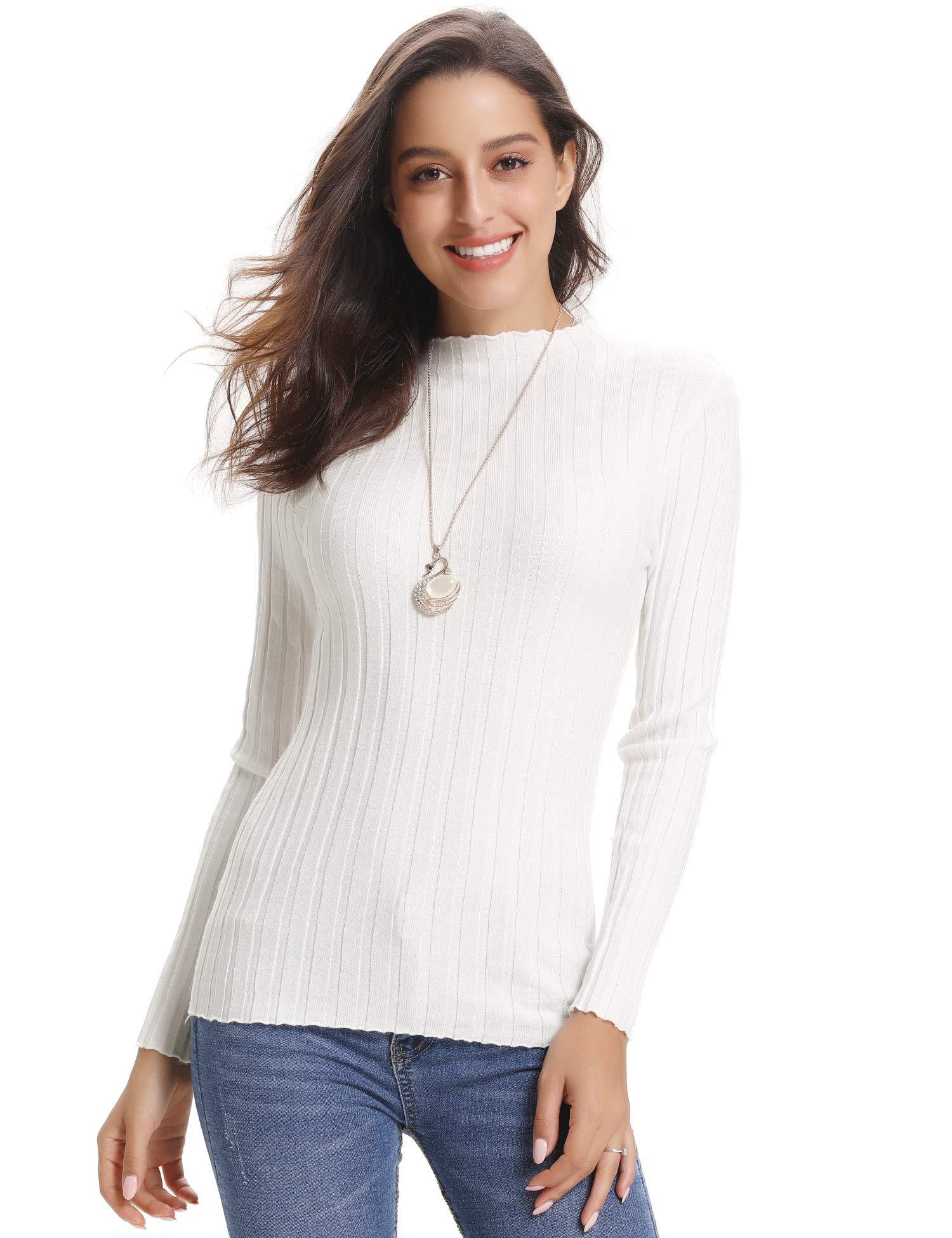 Abollria Women\'s Ribbed Turtleneck Long Sleeve Sweater Tops