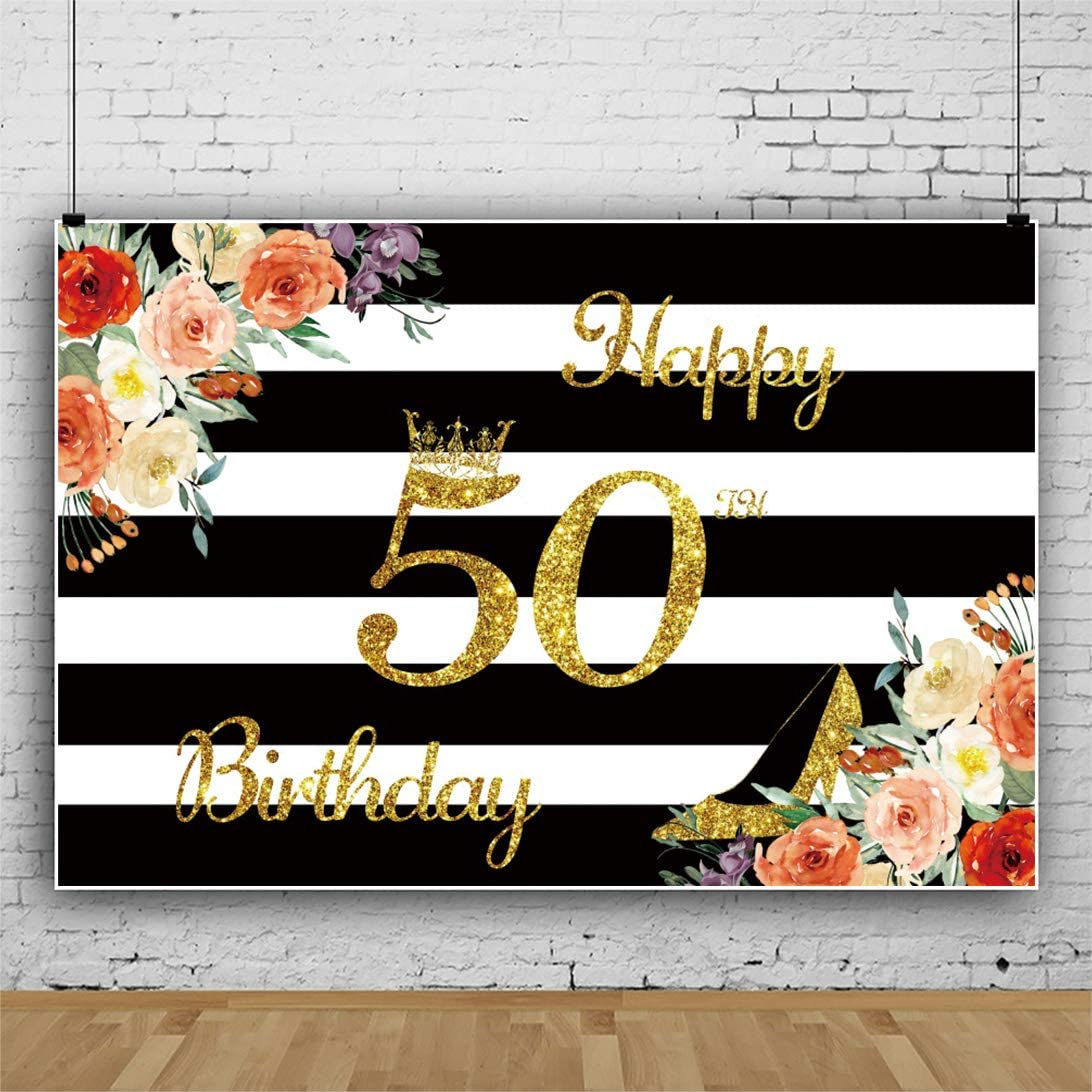 Haoyiyi 10x8ft Backdrop for Birthday Party Backdrop 50th Gold Golden Bling Bling Background White and Black Stripes Floral Flowers Photography Photo Baby Boys 1 st Girl Decors Decorations