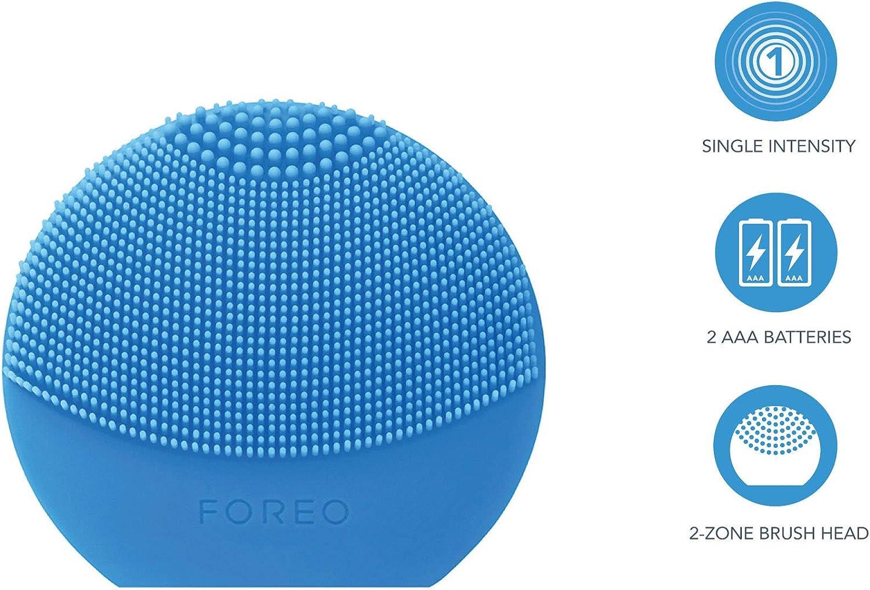 FOREO LUNA play plus, Spazzola pulizia viso impermeabile con batteria sostituibile, Blu (Aquamarine)