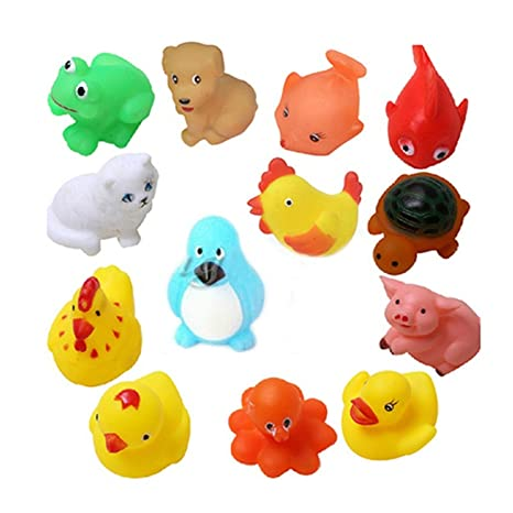 Bathing Toys Rubber Float Squeeze Sound Squeaky Mixed Animals For Baby Kids
