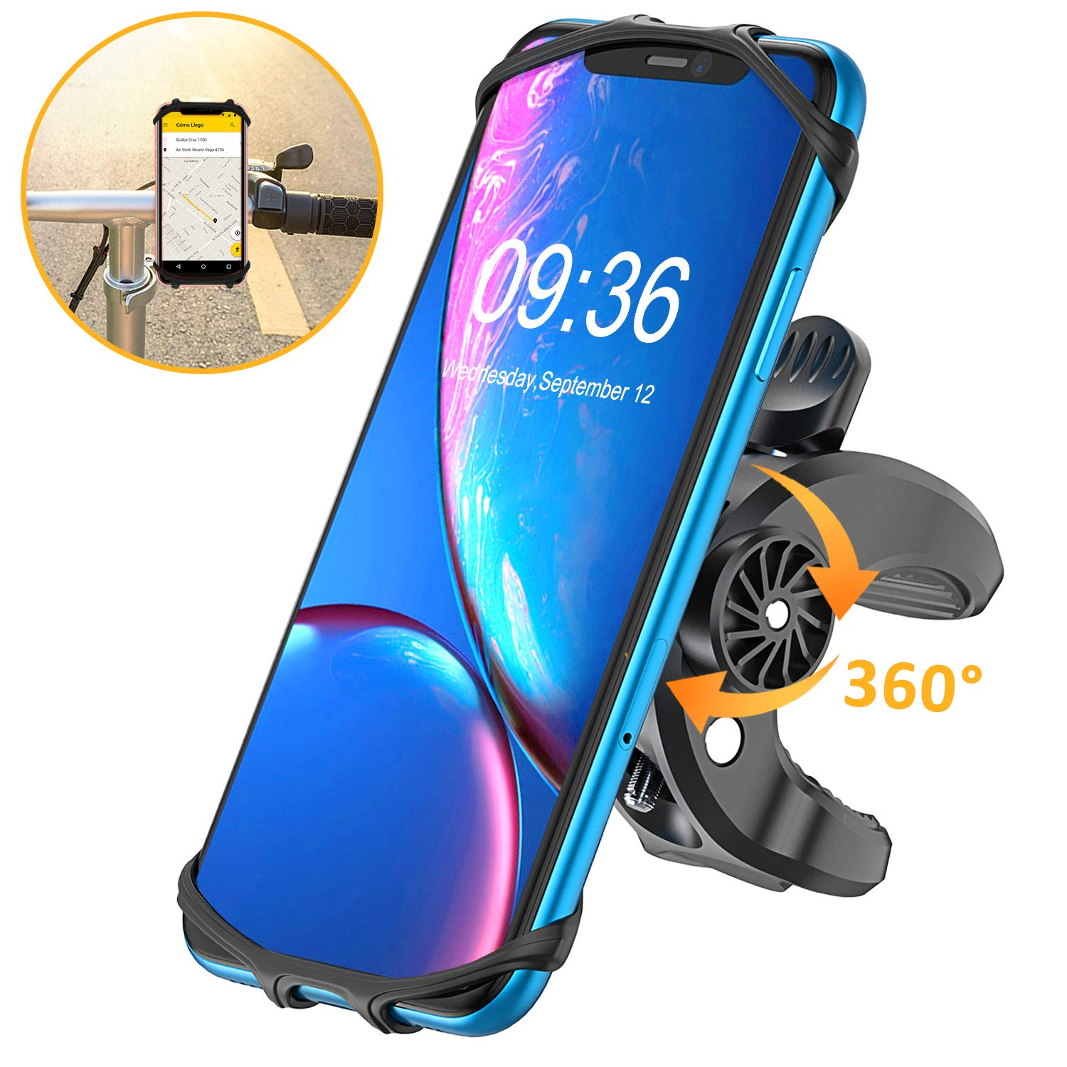 BOVON Bike Phone Mount, (Bolt Design) Sturdy Universal Motorcycle Bicycle Phone Holder Stand for iPhone 11 Pro Max/XS Max/XR/X/XS/8/8 Plus/7/7 Plus, Samsung S10/S10 Plus/S10 e - 360° Rotation