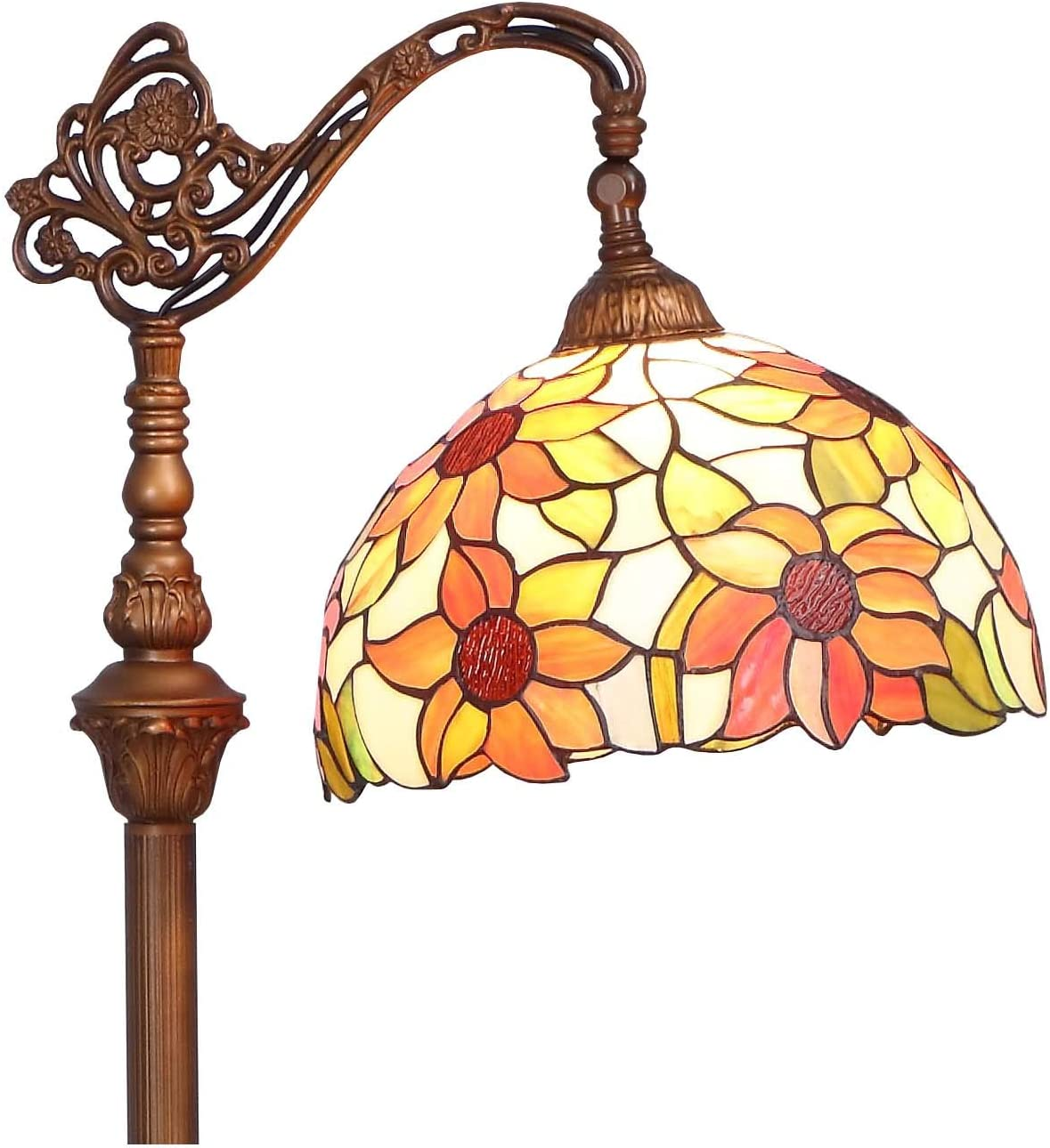 Bieye L10515 Orange Sunflower Tiffany Style Stained Glass Reading Floor Lamp with 12 inch Wide Shade, Light Direction is Adjustable, 65 inch Tall