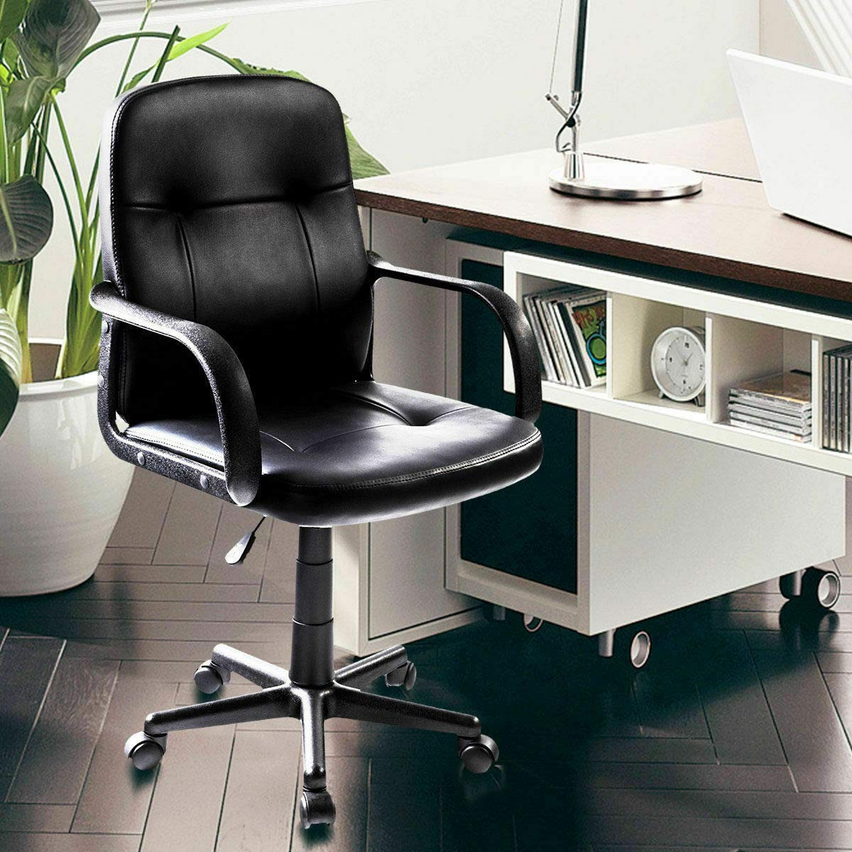 Seleq Compact Black PU Leather Desk Chair for Home Office by Seleq (Image #9)