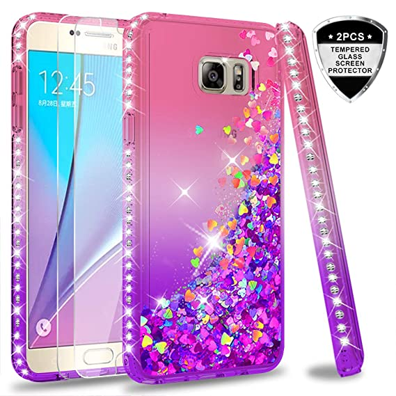 meet 0fc9a c6ee9 Galaxy Note 5 Case with Tempered Glass Screen Protector [2 Pack] for Girls  Women,LeYi Bling Sparkle Diamond Liquid Quicksand Flowing TPU Protective ...
