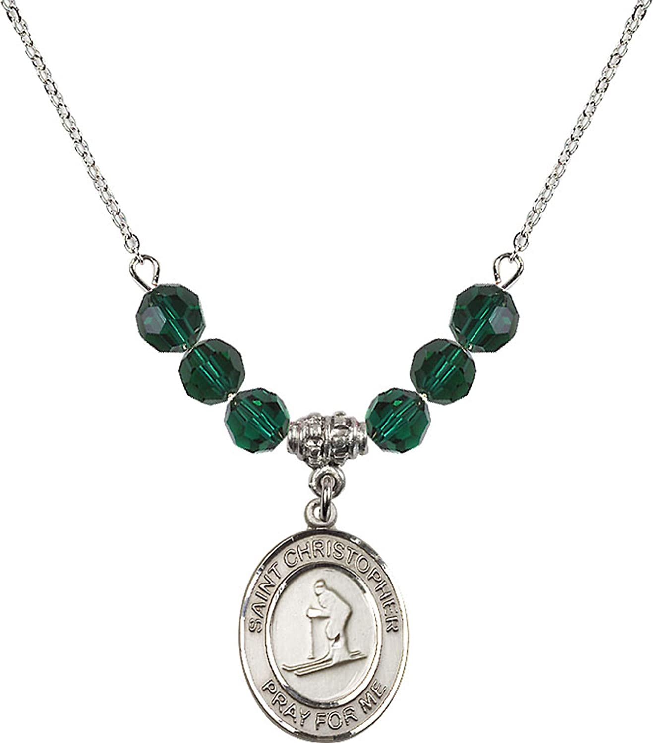 Bonyak Jewelry 18 Inch Rhodium Plated Necklace w// 6mm Green May Birth Month Stone Beads and Saint Christopher//Skiing Charm