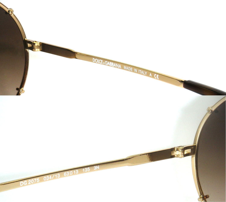 99d475497e7 Authentic Dolce   Gabbana Gold Frame   Brown Gradient DG 2075 034 13 63   Amazon.co.uk  Clothing