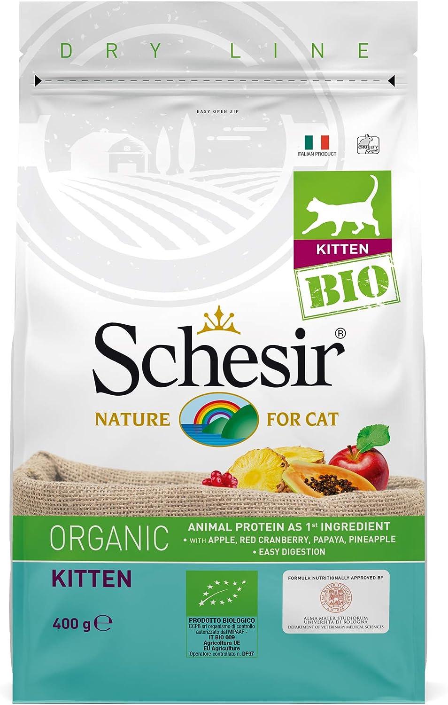 Schesir - Kitten Bio, para Gatitos - alimento seco, Sabor Pollo, Formato 400 Gramos - Total 3,2 kg (Lot 8x400 gr)