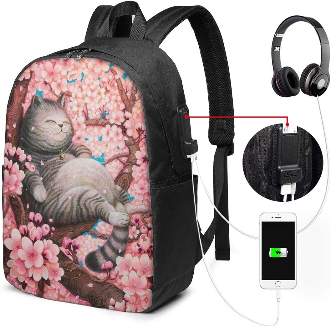 Fat Grey Cat Sleeps Pink Peach Tree Personality 17 Inch College School Computer Bag Laptop Backpack with USB Charging Port for Women Men College Student Travel Outdoor Camping Daypack