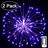Joomer 2 Pack LED Starburst Lights, 8 Modes 120 LED Dimmable Fairy Lights, Twinkle Fireworks String Lights, Waterproof Battery Operated with Remote Control for Home, Patio, Parties, Wedding (Purple)