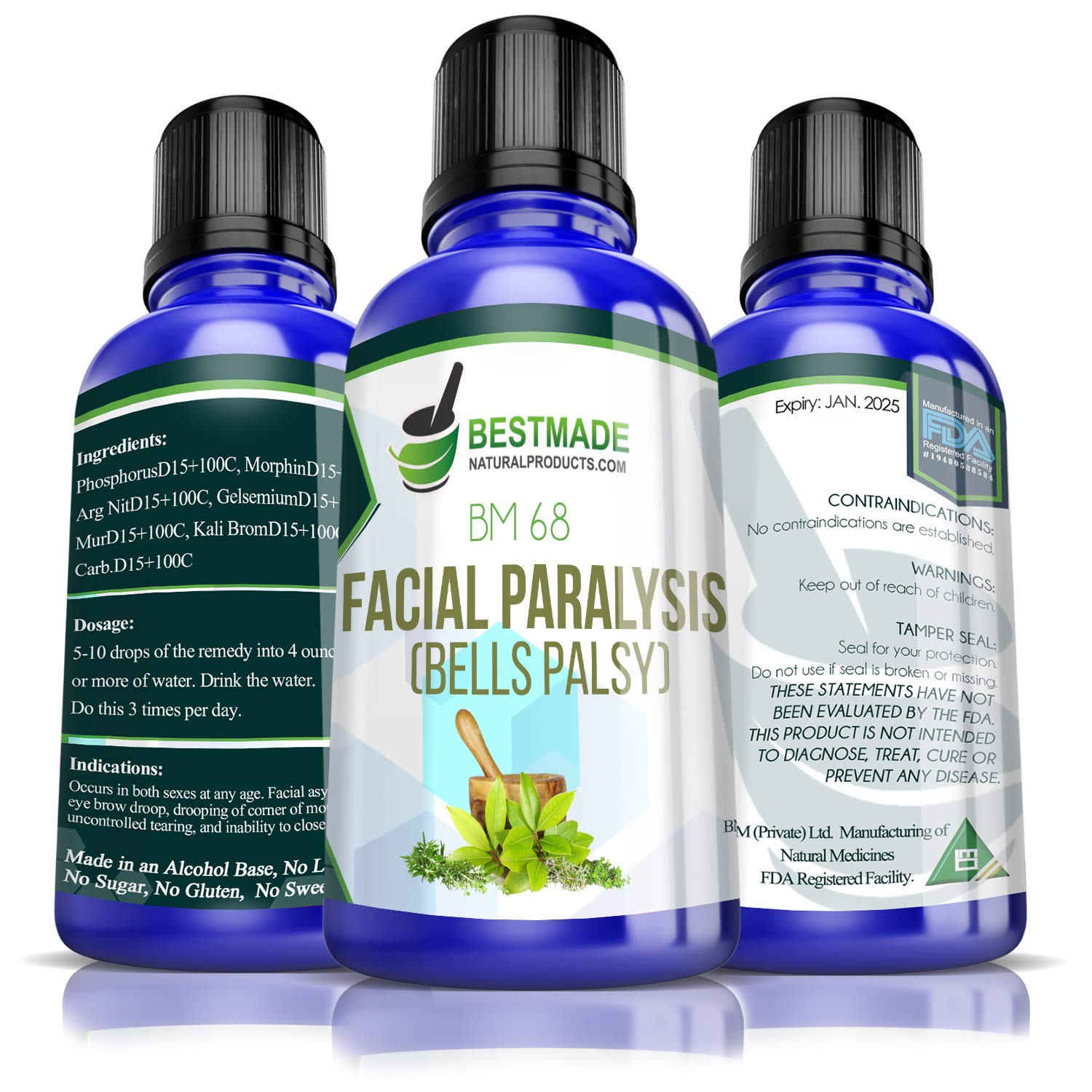 Facial Paralysis (Bell's Palsy) BM68 15mL, A Natural Remedy to Help with  Facial Drooping and