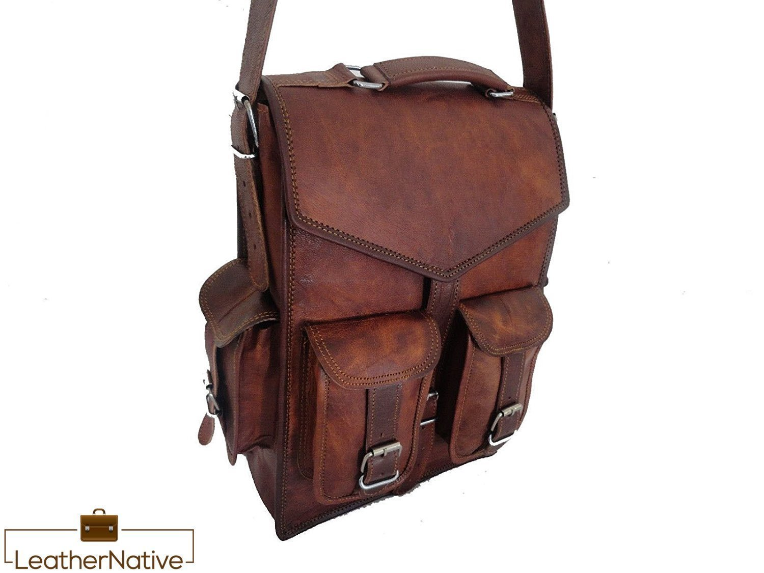 Leather Messenger Bag Briefcase Satchel - 2-in-1 Rucksack and Courier Bag, Fits Crossbody or On Your Back - 15-inch Handmade, Takes a Small Laptop, iPad - Rich Patina Improves with Age - Men or Women