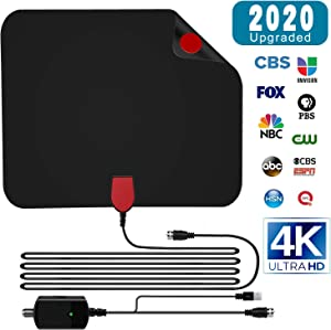 【2020 Newest】 HDTV Antenna, Gr8ware HD Digital Indoor Amplifier TV Antenna 50-100 Miles Range with Amplifier Signal Booster Support 4K 1080P UHF VHF Freeview Channels