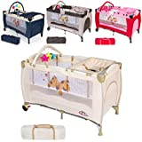 TecTake New portable child baby travel cot bed playpen with entryway -different colours- (Beige)