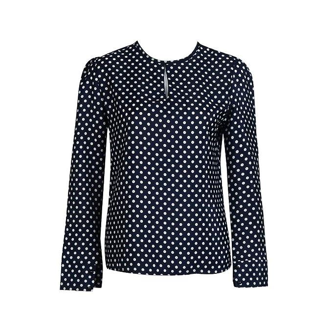 Culater® Mujeres Casual Manga Larga Blusas Gasa Lunares Camiseta (L)