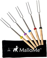 MalloMe Marshmallow Roasting Sticks - Smores Skewers for Fire Pit Kit