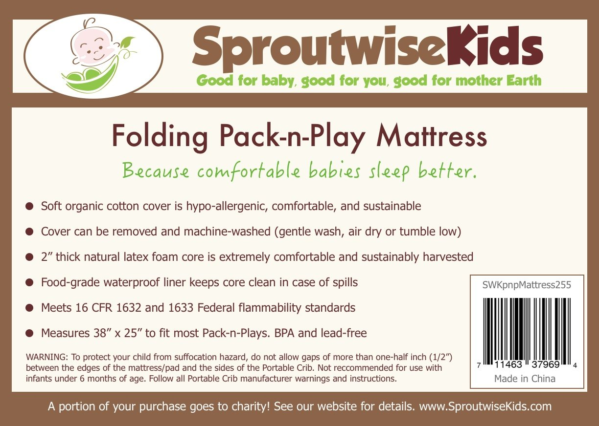 Buy Folding Pack n Play Mattress by Sproutwise Kids - Super Soft  Hypoallergenic Bamboo Cover with Waterproof Liner. Travel Bag Included  Online at Low Prices ...