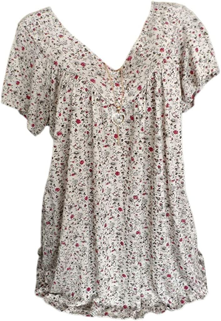 Womens Loose Plus Size Floral Print T-Shirt Tee S-5XL,Ruffle Short Sleeve V-Neck Basic Top Fashion Style for Laides and Girl White