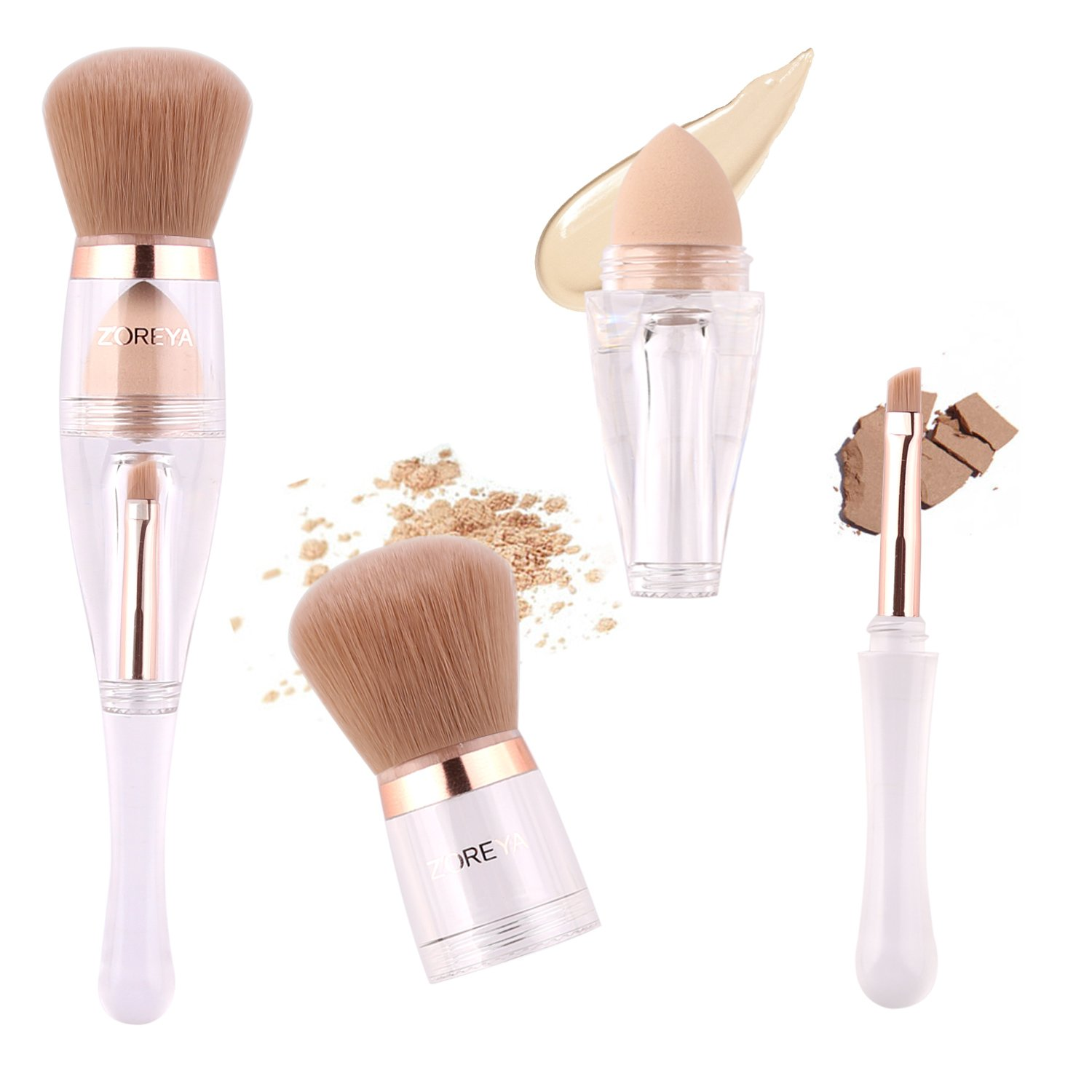 Makeup Brushes Zoreya(TM) 3 in 1 New TRIO Complexion 3x High Efficient Multipurpose Professional Makeup Brushes set Kit with Maximum Application, Bronzer Brush, Blender Sponge (Angled Brow Set)