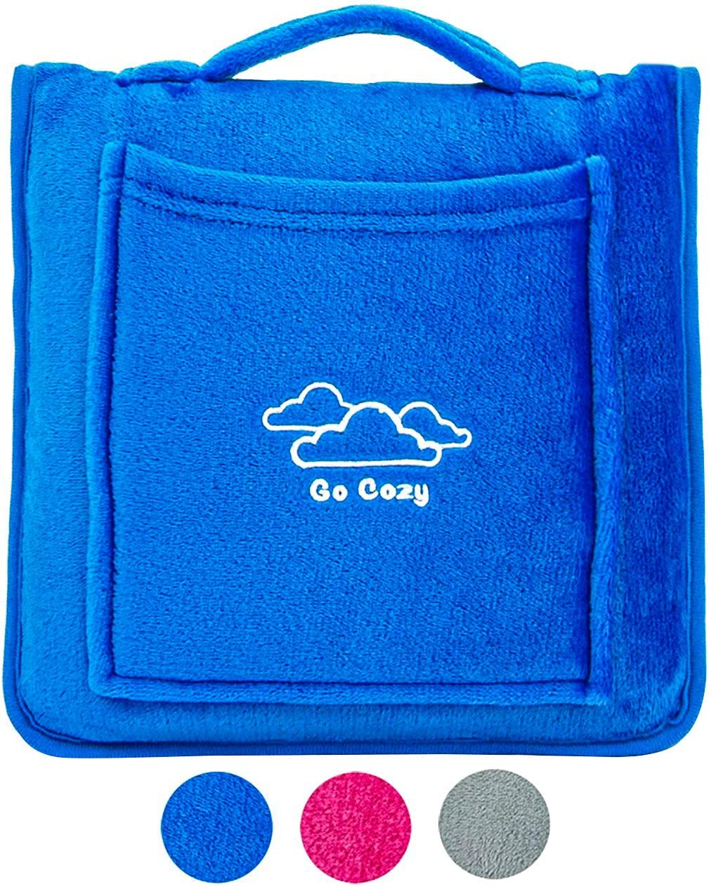 Go Cozy 4In1 Compact Travel Blanket. Soft Fleece Travel Blanket Airplane Compact. Portable Blanket with Front Pocket, Luggage Strap, and Carrying Handle. Great Travel Gift. Airplane Blanket (Blue).