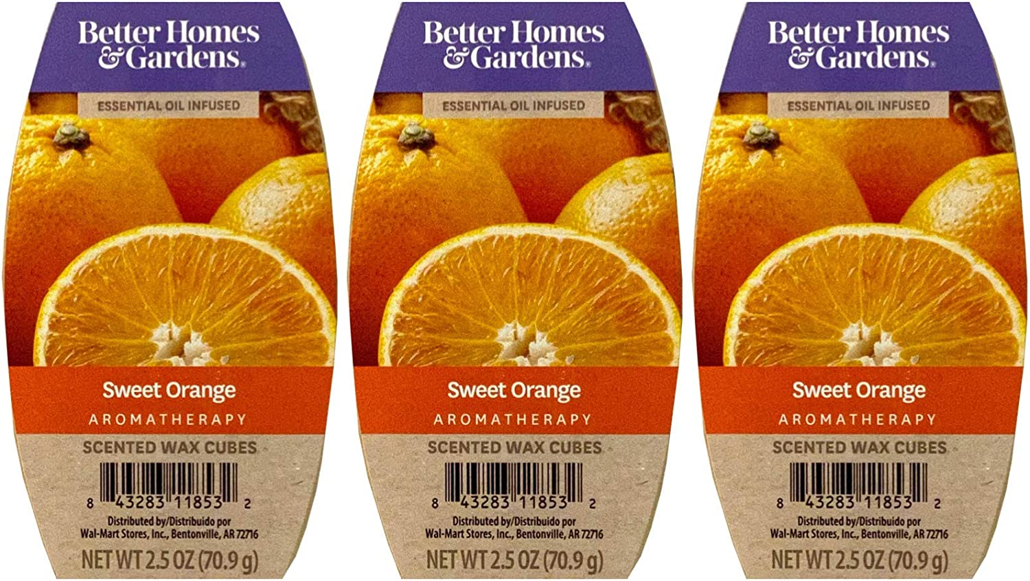 Better Homes and Gardens Sweet Orange Essential Oil Infused Wax Cubes - 3-Pack