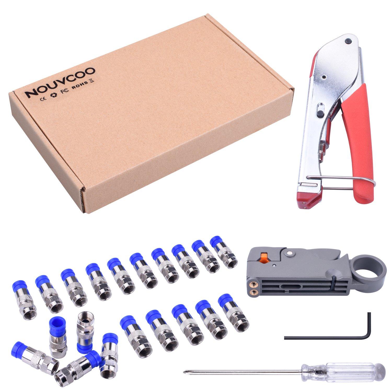 NOUVCOO Kit de Crimpador y Pelacable Coaxial con 20pcs Conectores para RG59, 6F-Conetor, Adecuado para Cables RG58/ 59/ 62/ 6/ 3V2V/ 4C/ 5C, Distancia de ...