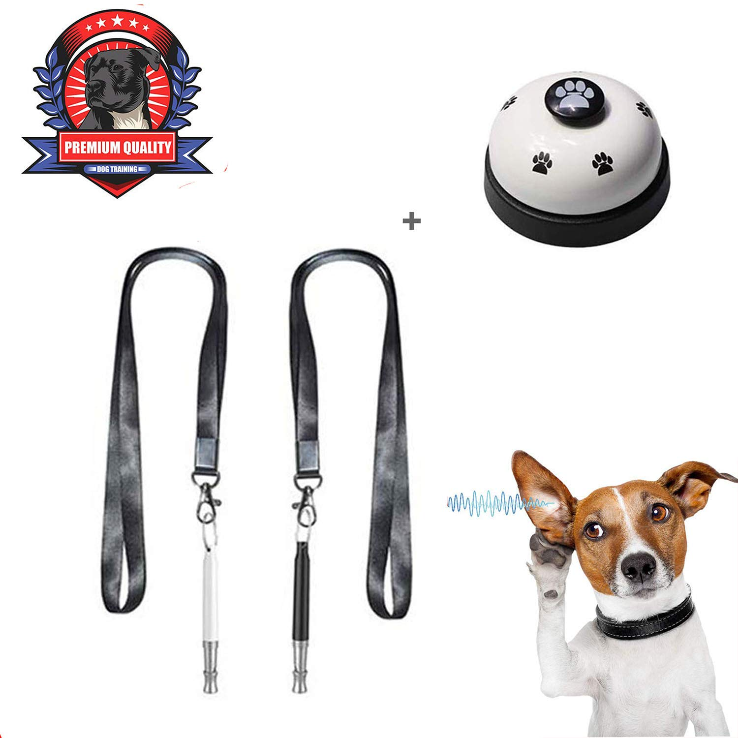 Petawi Professional Dog Whistle to Stop Barking Bark Control Recall Training Tool Adjustable Frequency Pitch Ultrasonic Sound Premium Lanyard Strap &EBOOK Training Guide - 3 Pack (Black+White+Bell) by Petawi