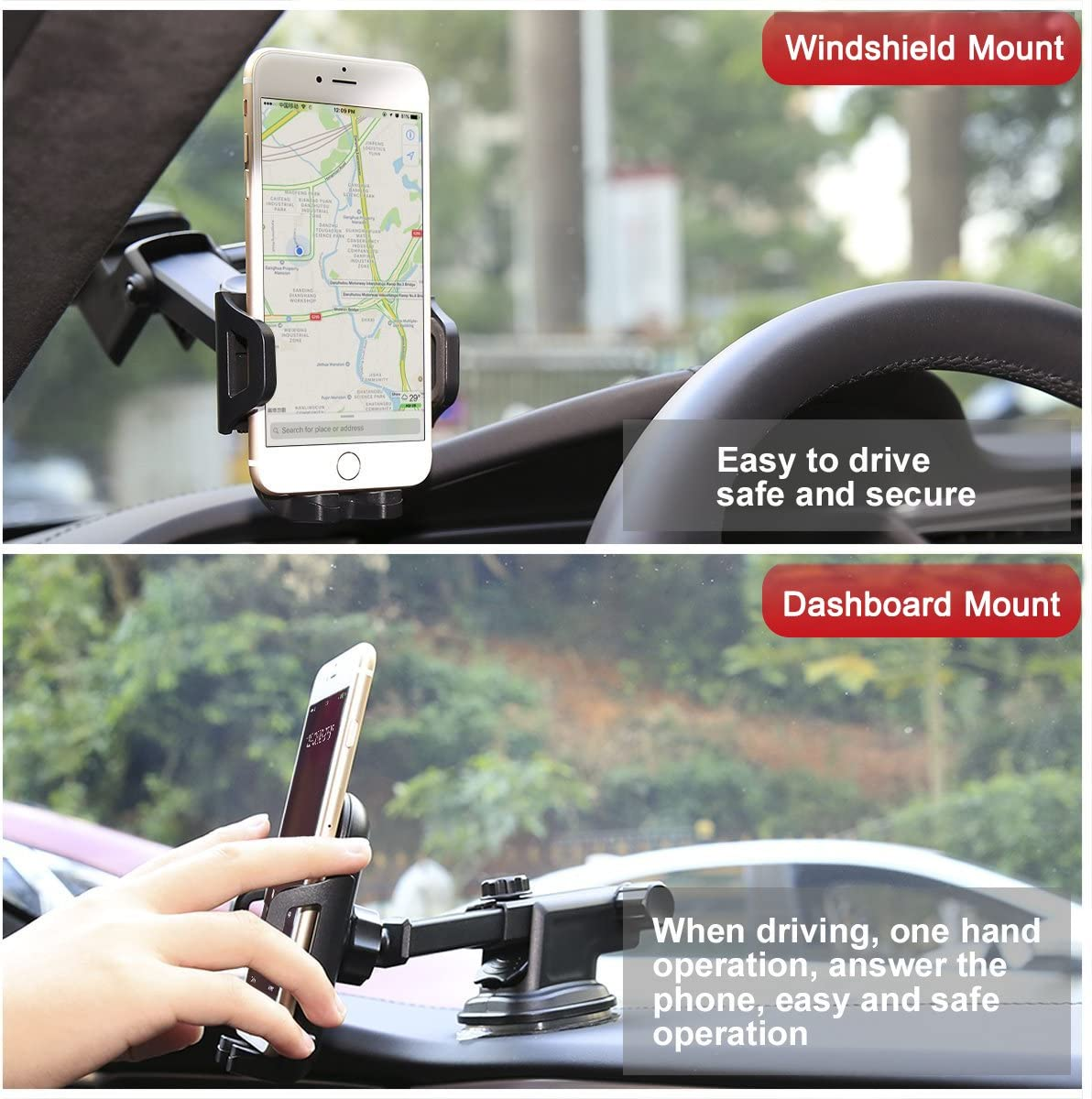 Air Vent Car Mount Electronics Universal Smartphone Car Air Vent Mount Holder Cradle Compatible with iPhone Xs Max X 8 8 Plus 7 7 Plus SE 6s 6 Plus 6 5s 5 4s 4 Samsung Galaxy S6 S5 LG Nexus and More