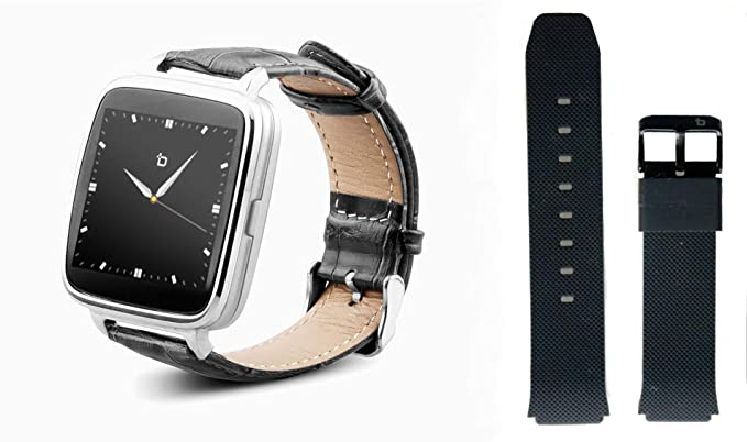 Beantech S1 Smart Watch for Apple/Android Phones. Silver with Black Croc-Embossed Leather Strap with Bonus Black Silicone Strap